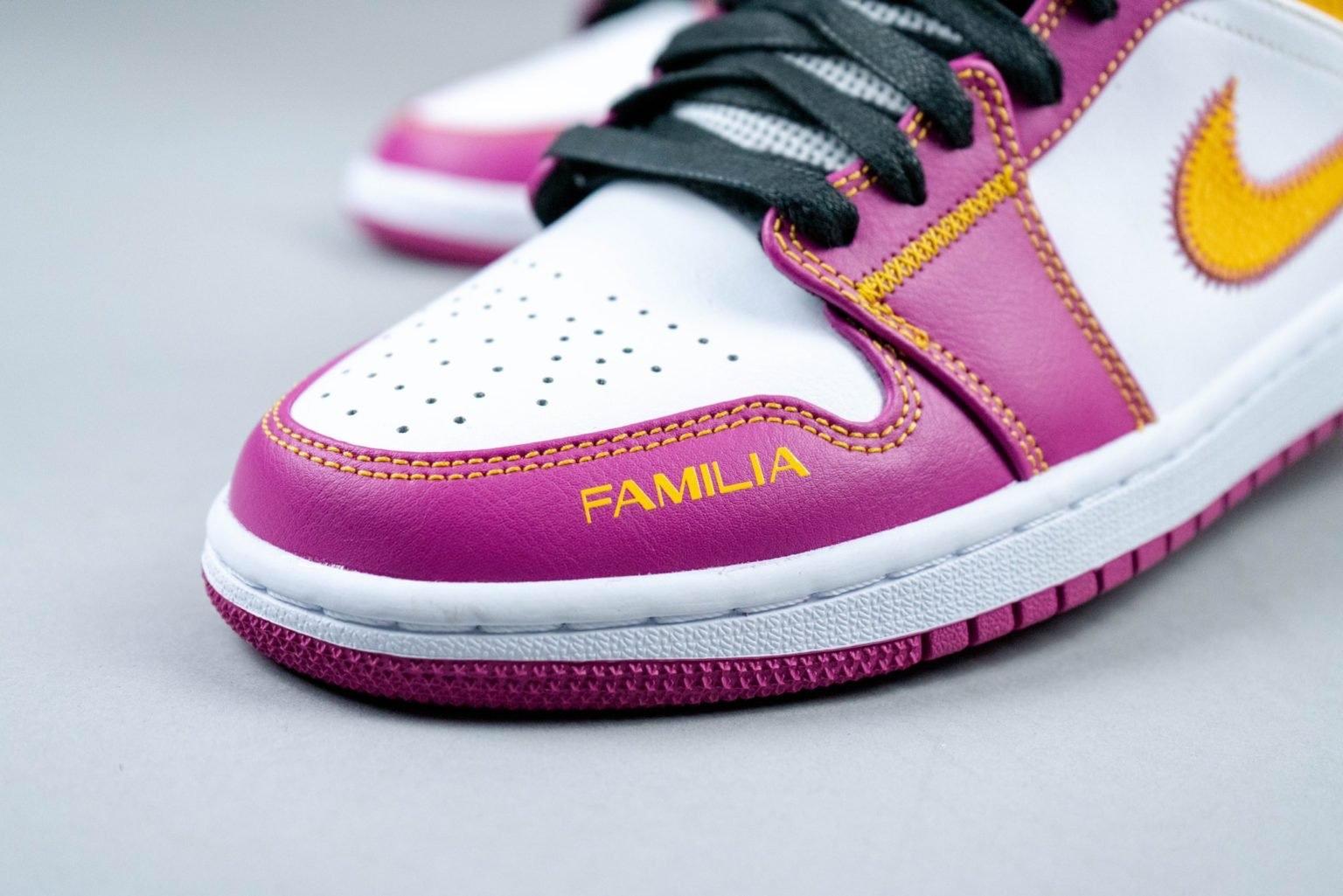 """Air Jordan 1 Mid """"Familia"""" dettaglio lettering"""