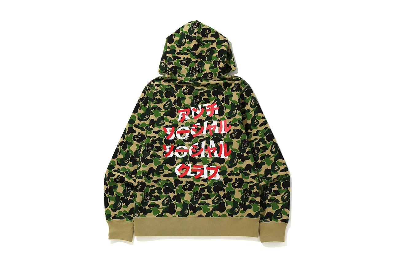 Anti Social Social Club x BAPE green camo hoodie