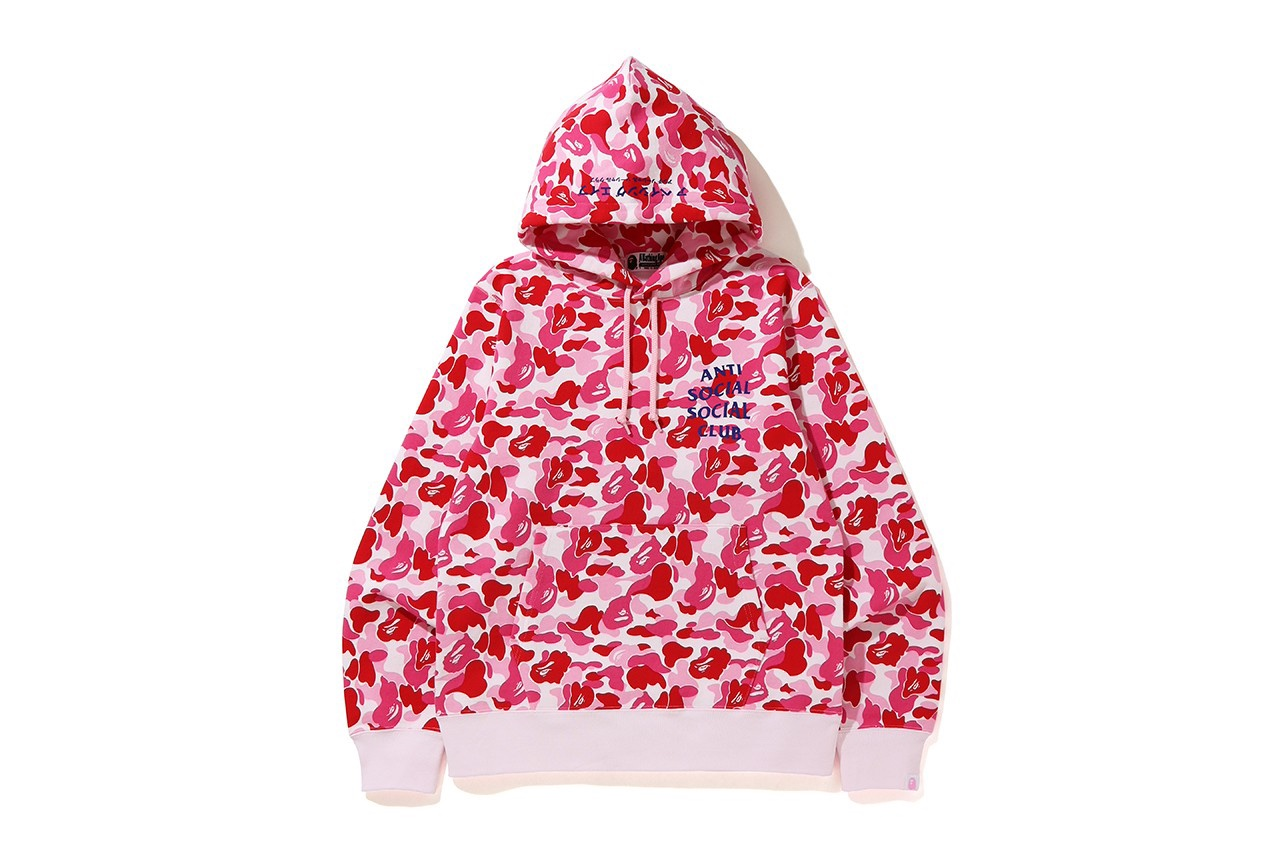 Anti Social Social Club x BAPE pink camo hoodie