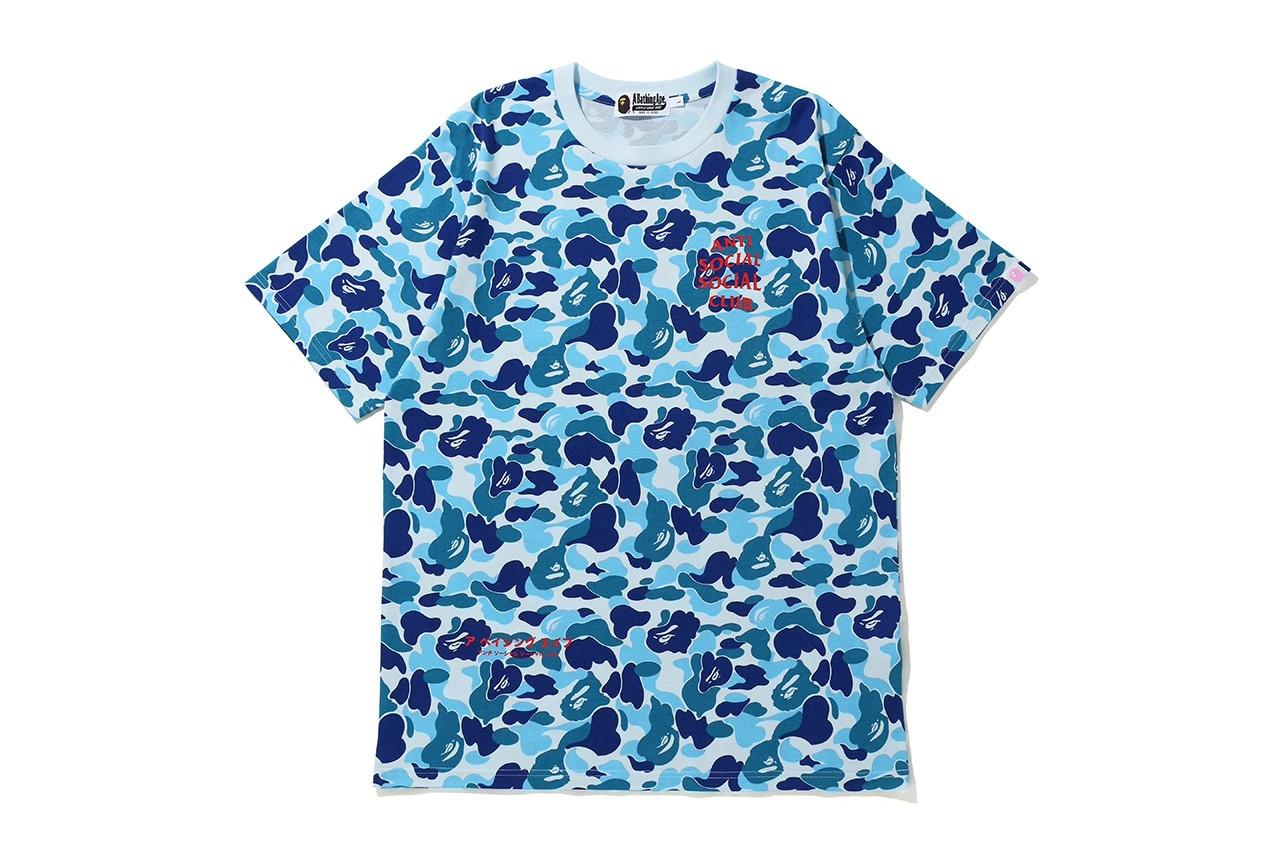Anti Social Social Club x BAPE blu camo hoodie
