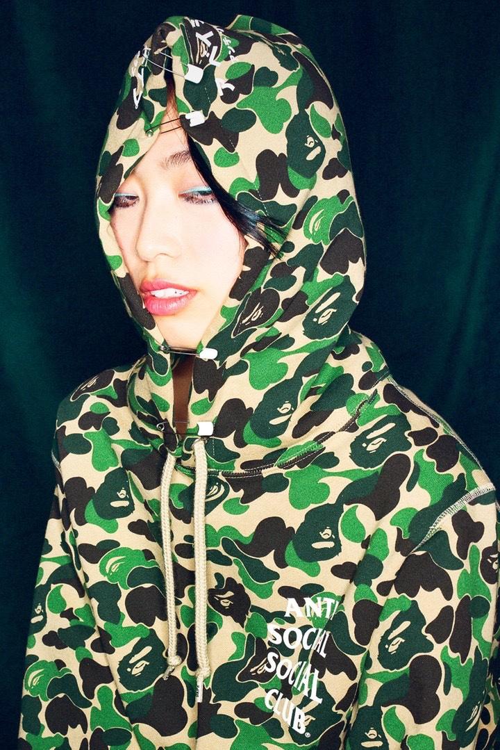 BAPE Anti Social Social Club Fall 2020 camo hoodie green