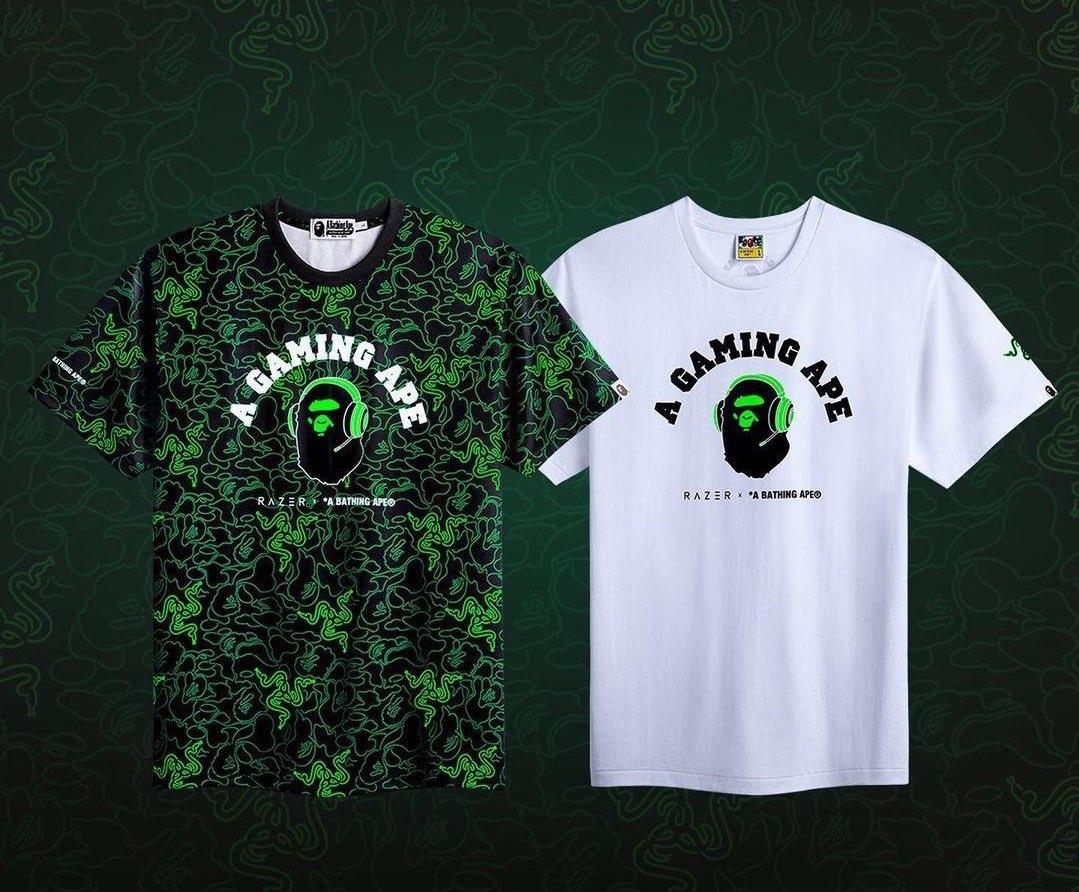 BAPE x Razer A GAMING APE T-shirt