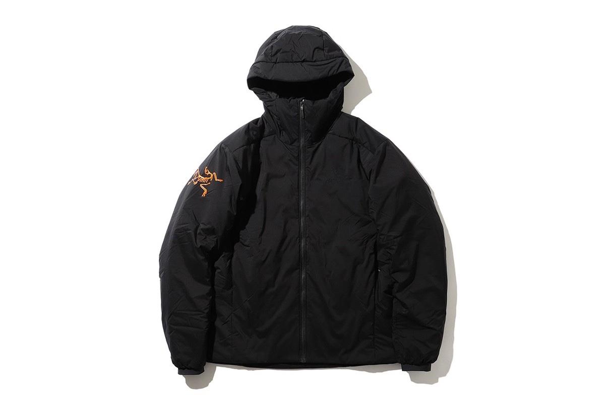 BEAMS x Arc'Teryx Giacca nera logo arancione