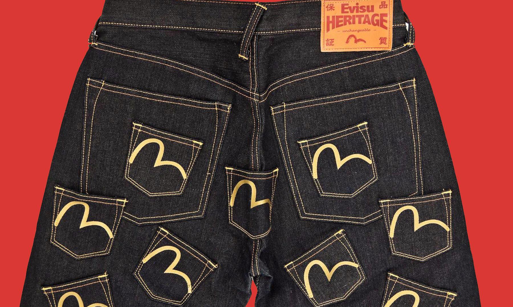"""Evisu x Travis Scott Denim Jeans """"Cactus Jack"""" detailing"""