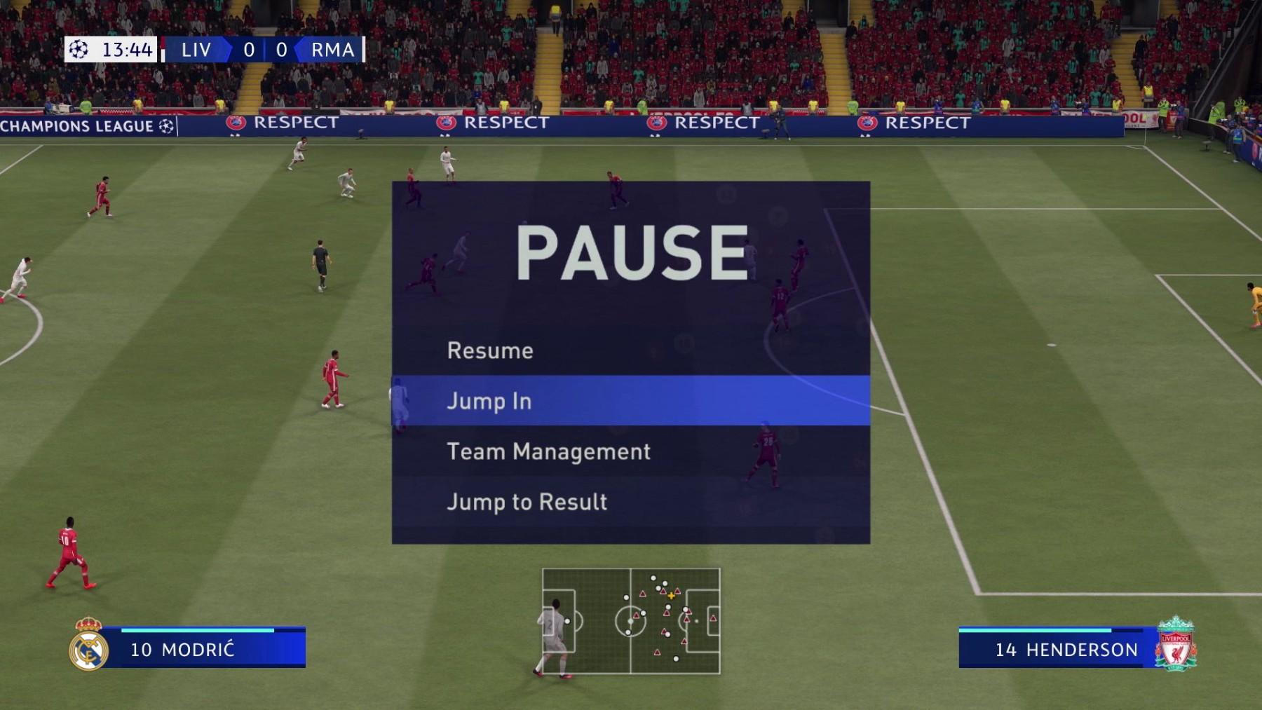 FIFA 21 menù