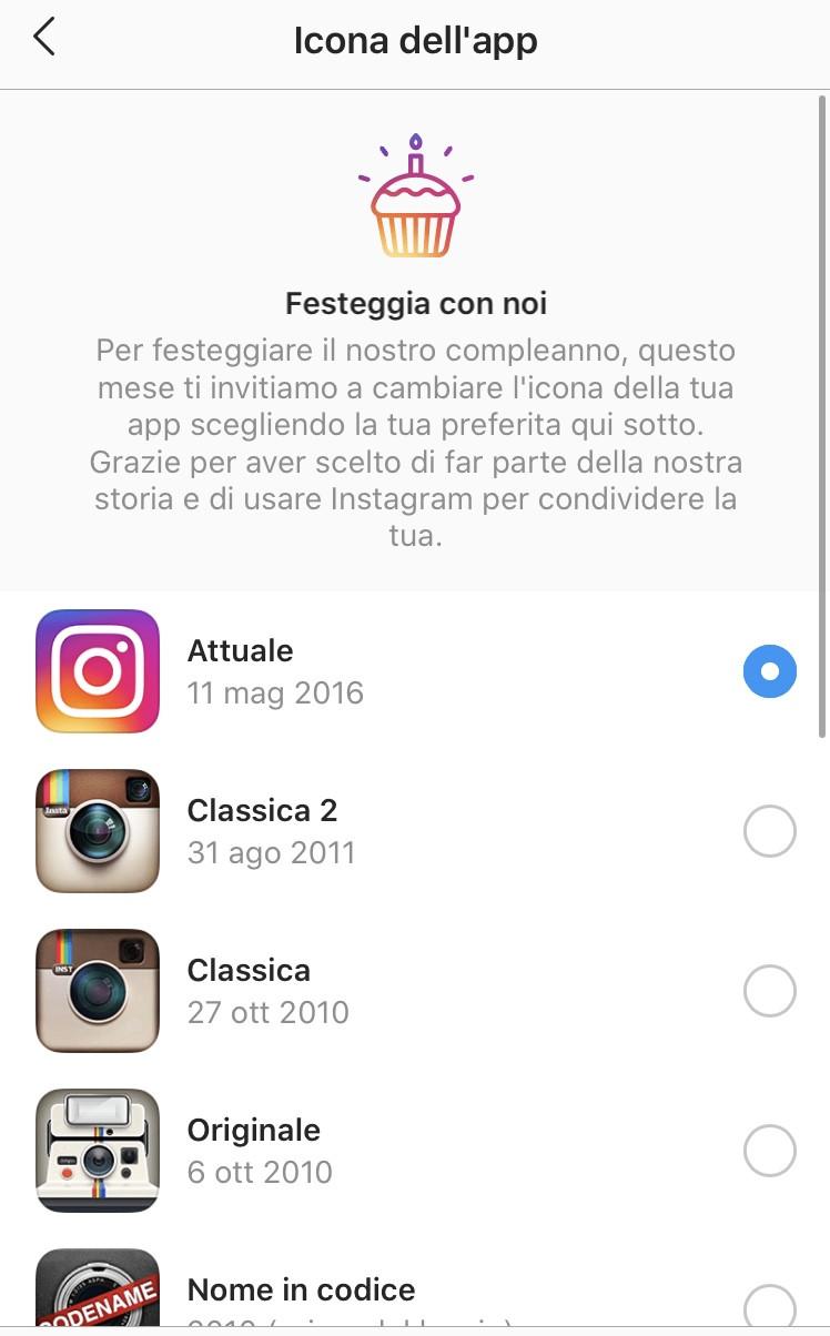 Instagram dieci anni cambiare icona