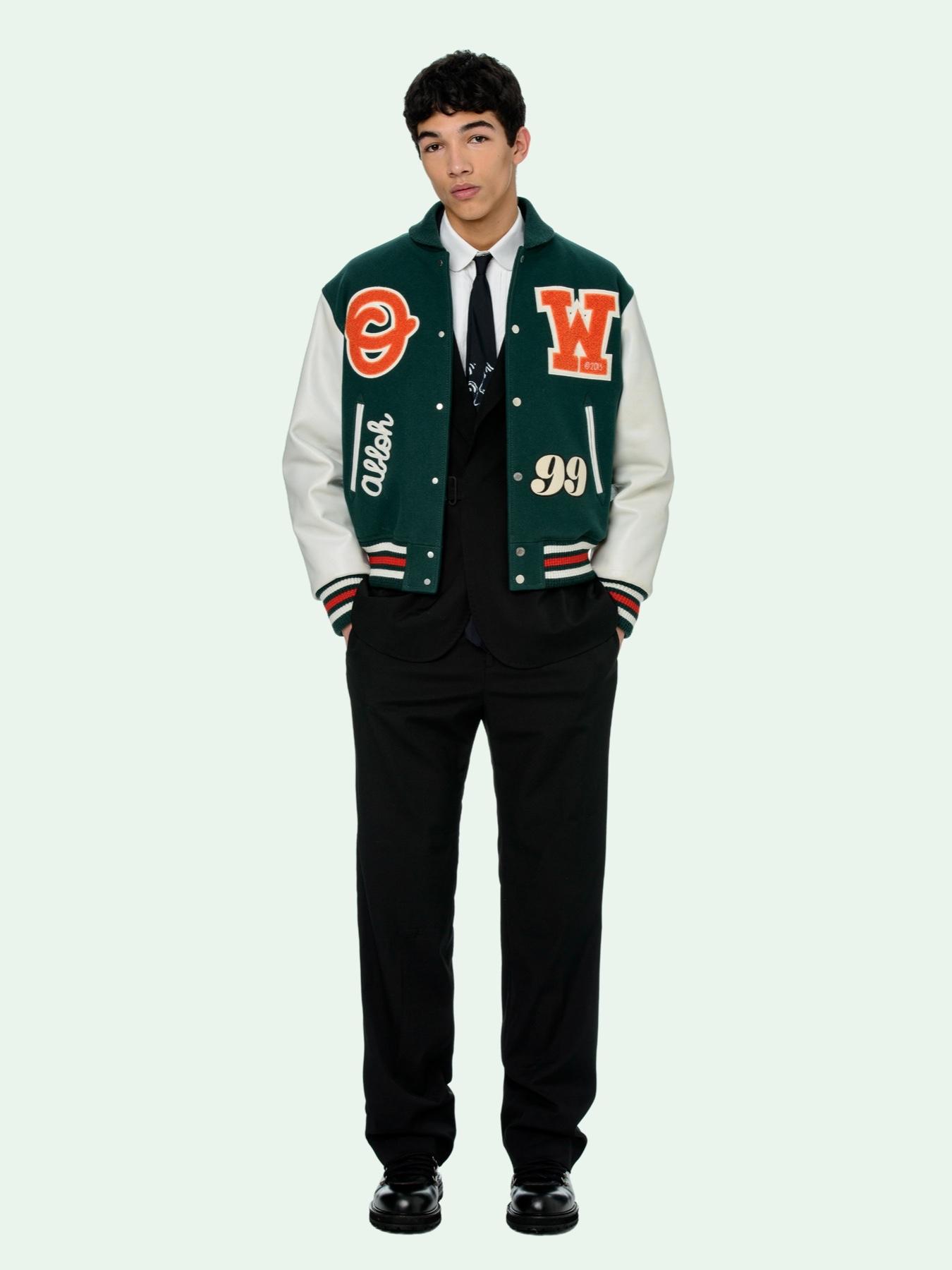 Off White Pivot Collection Leather Varsity Jacket