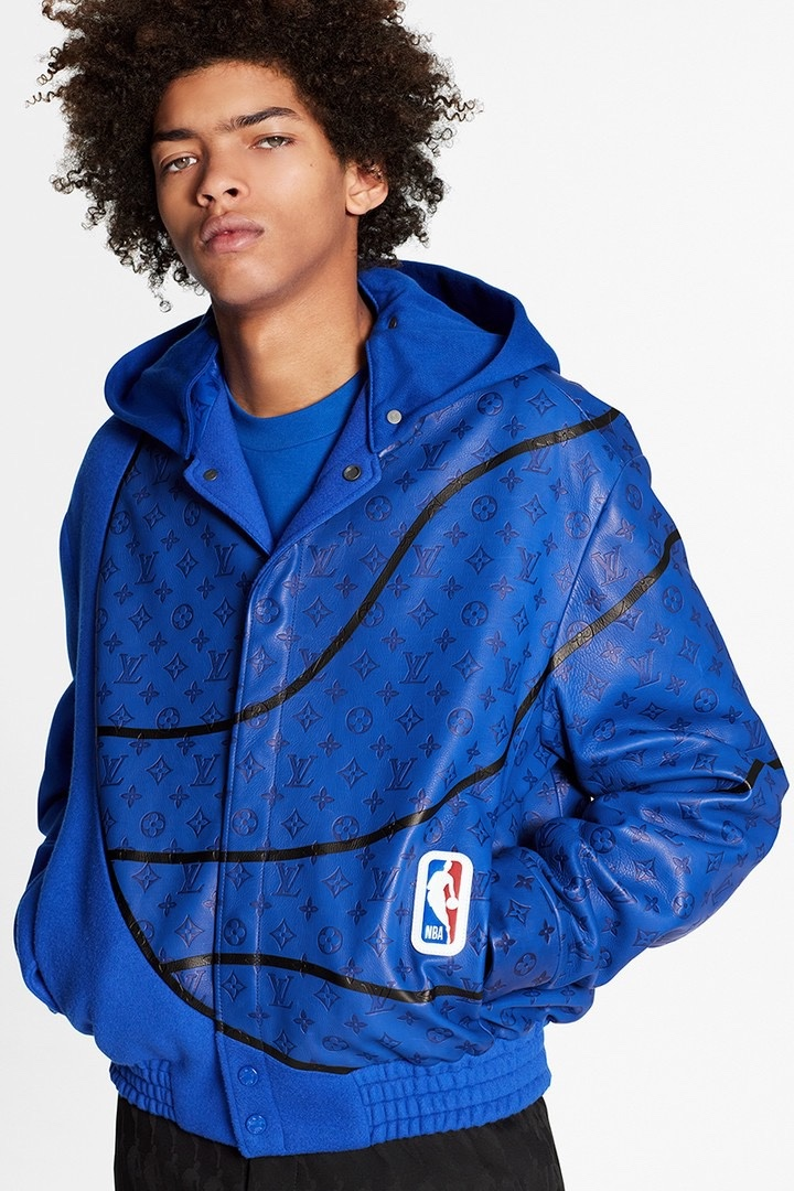 Louis Vuitton NBA leather bomber jacket blu