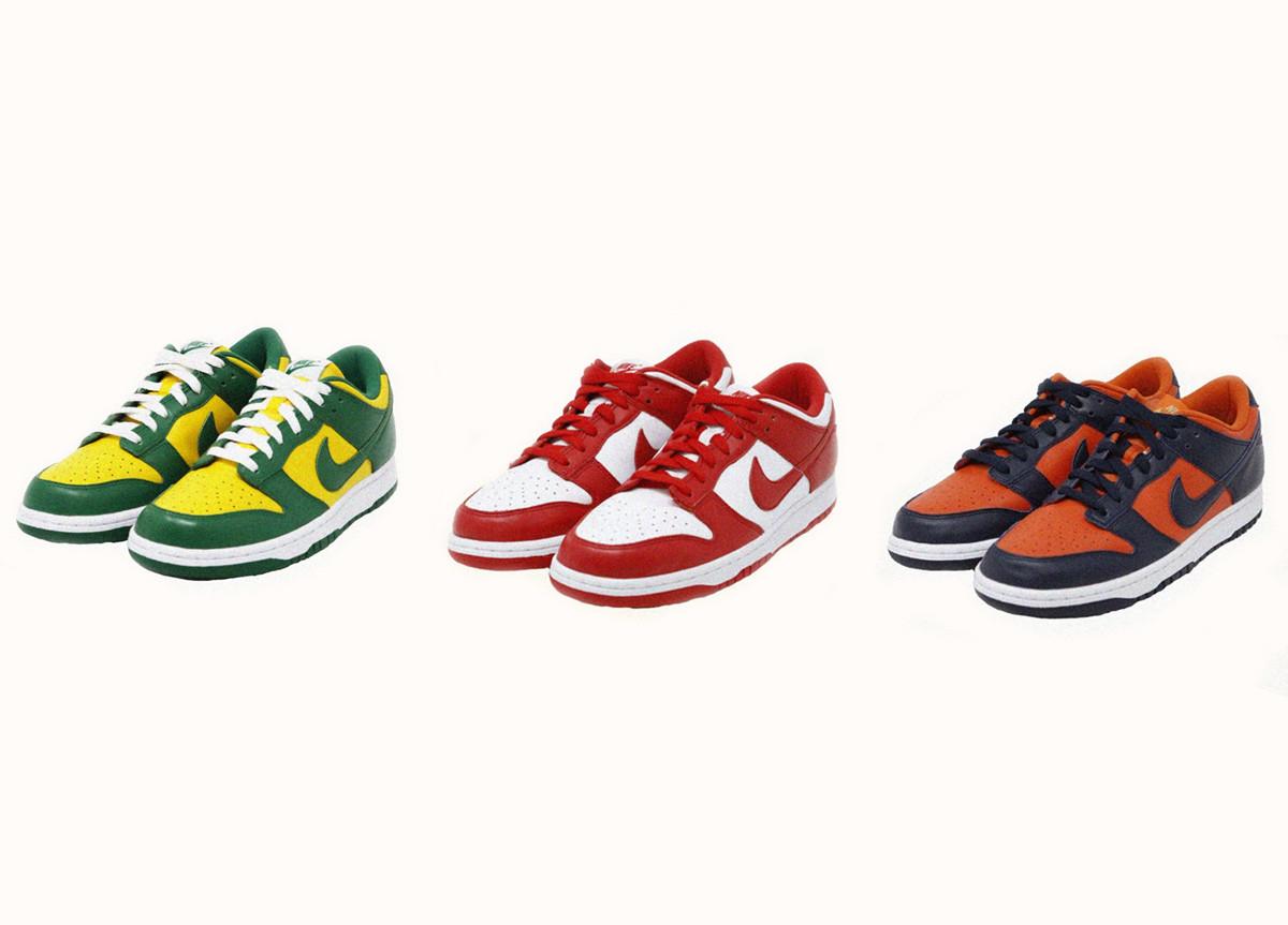 """Nike Dunk Low """"Brazil"""" """"University Red"""" e """"Champ Colors"""""""