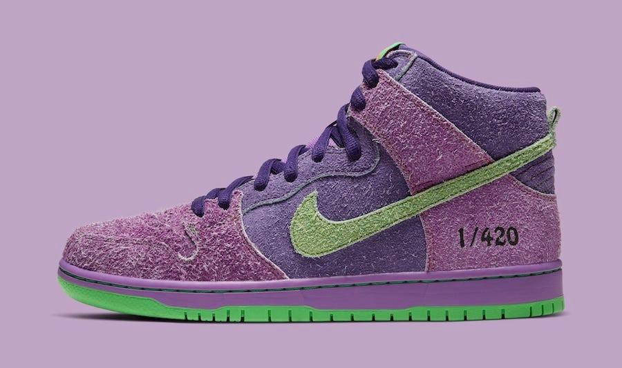 Nike SB Dunk High 420 Swoosh verde chiaro