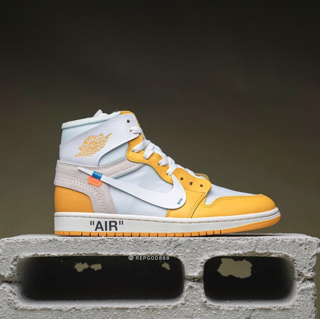 """Off-White x Air Jordan 1 """"Canary Yellow"""" dettaglio Lettering Off-White"""