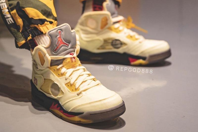 """Off-White x Air Jordan 5 """"Sail"""" on feet"""