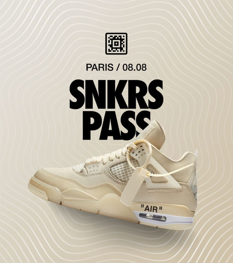 SNKRS PASS Off-White x Air Jordan 4 Sail