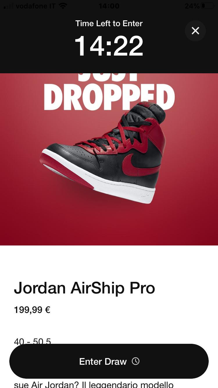SNKRS Raffle Air Ship