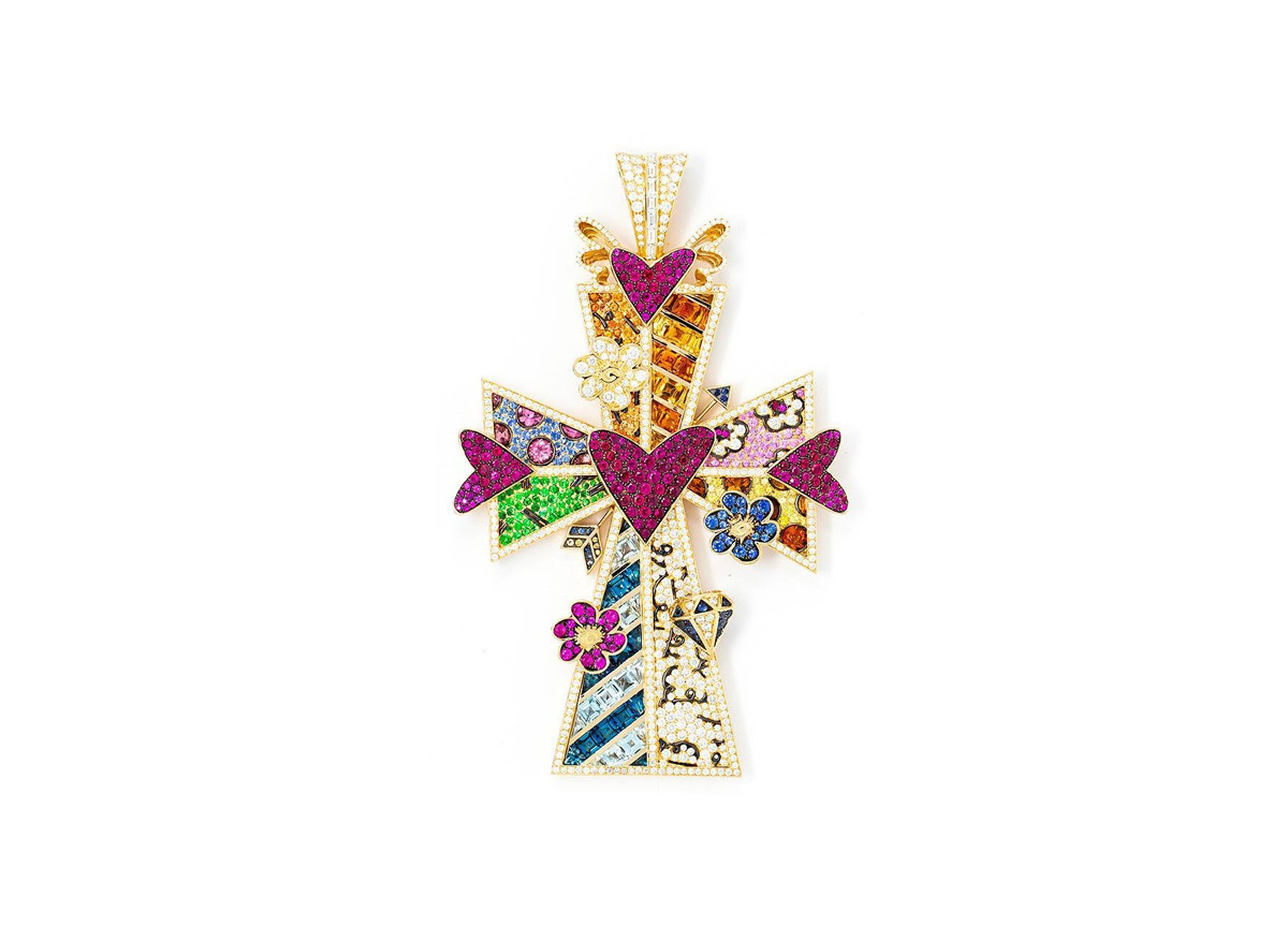 Sfera Ebbasta collana croce Britto