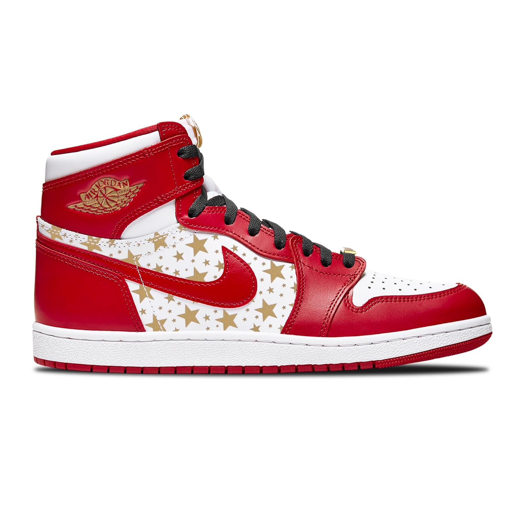 Supreme x Air Jordan 1 High rossa pattern stellato