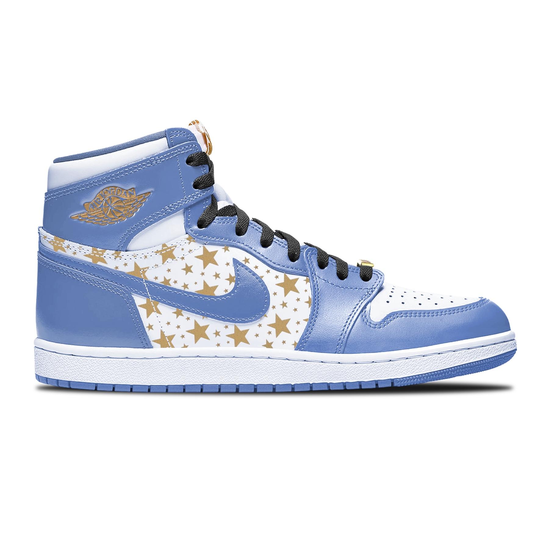 Supreme x Air Jordan 1 High azzurra pattern stellato