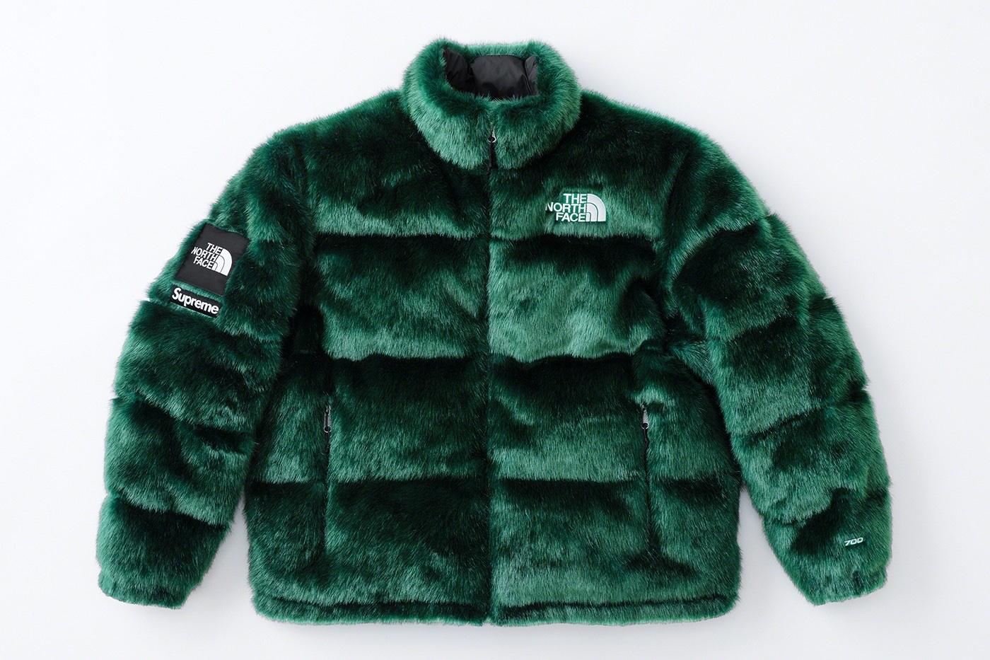 Supreme x The North Face Faux Fur Nuptse Jacket Green