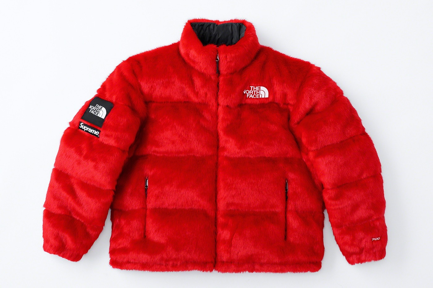 Supreme x The North Face Faux Fur Nuptse Jacket Red