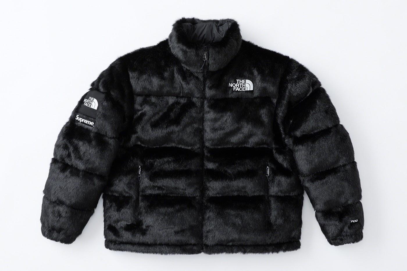 Supreme x The North Face Faux Fur Nuptse Jacket Black