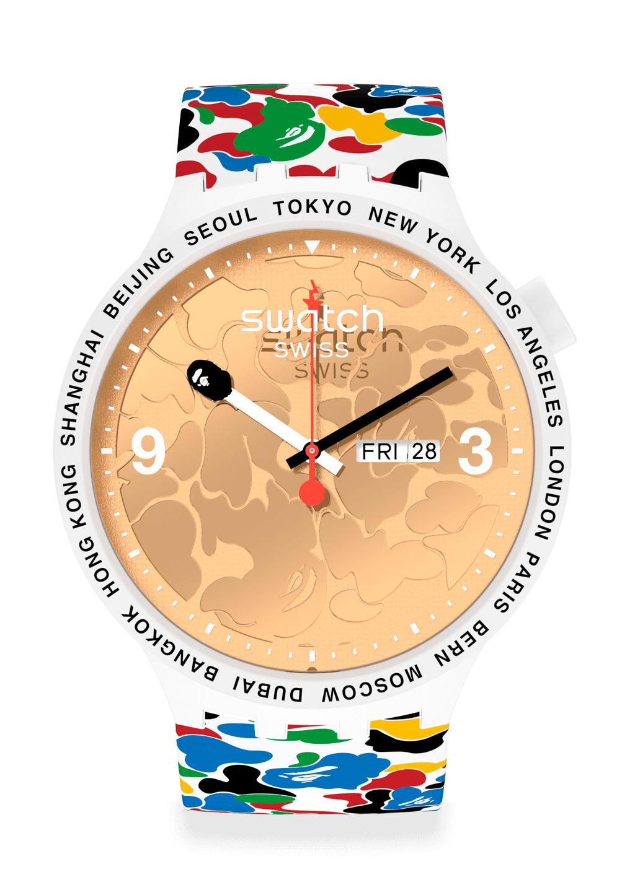 Swatch x BAPE Tokyo - White Multi Camo orologio