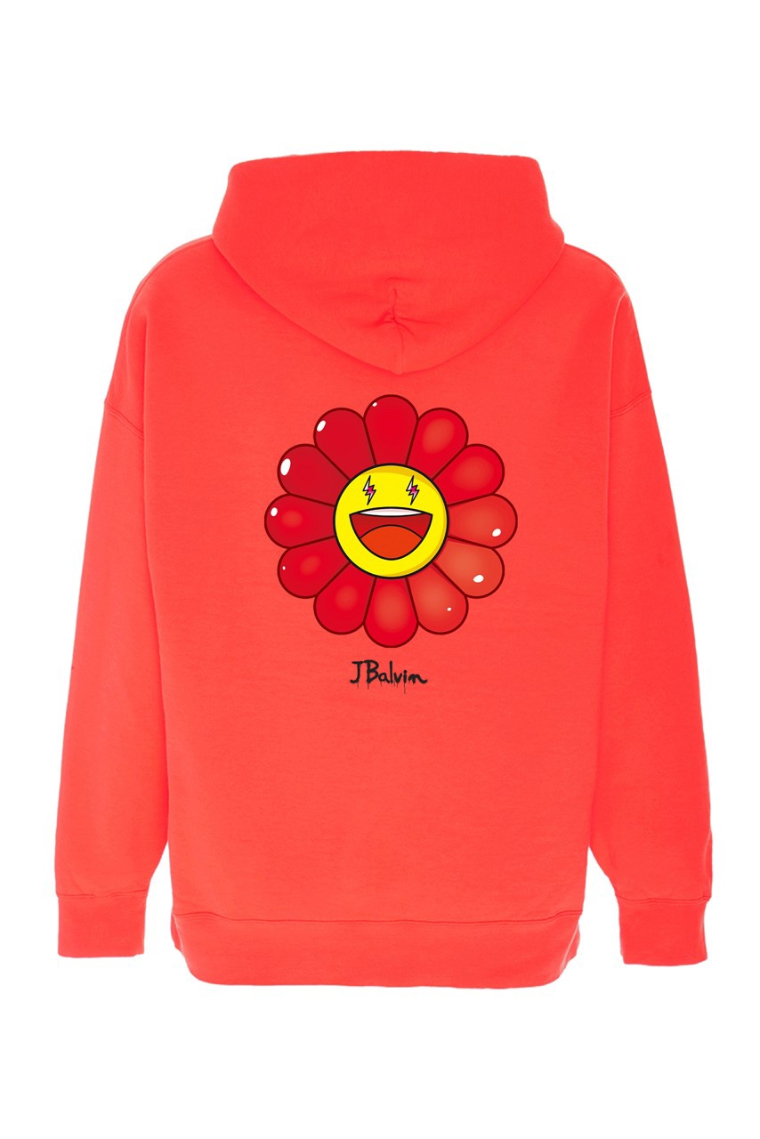 Takashi Murakami x J Balvin Capsule Collection hoodie rossa margherita