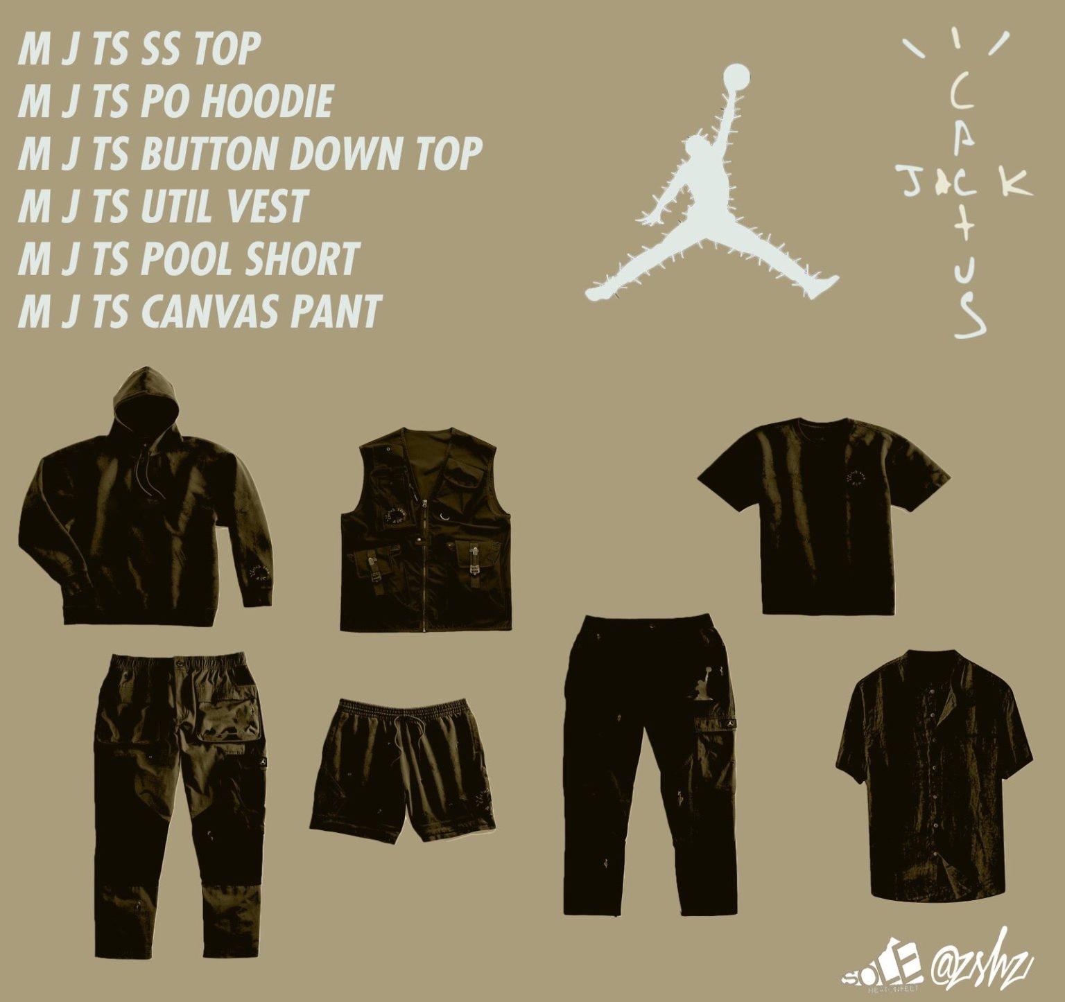 "Travis Scott x Air Jordan 6 ""British Khaki"" apparel collection"
