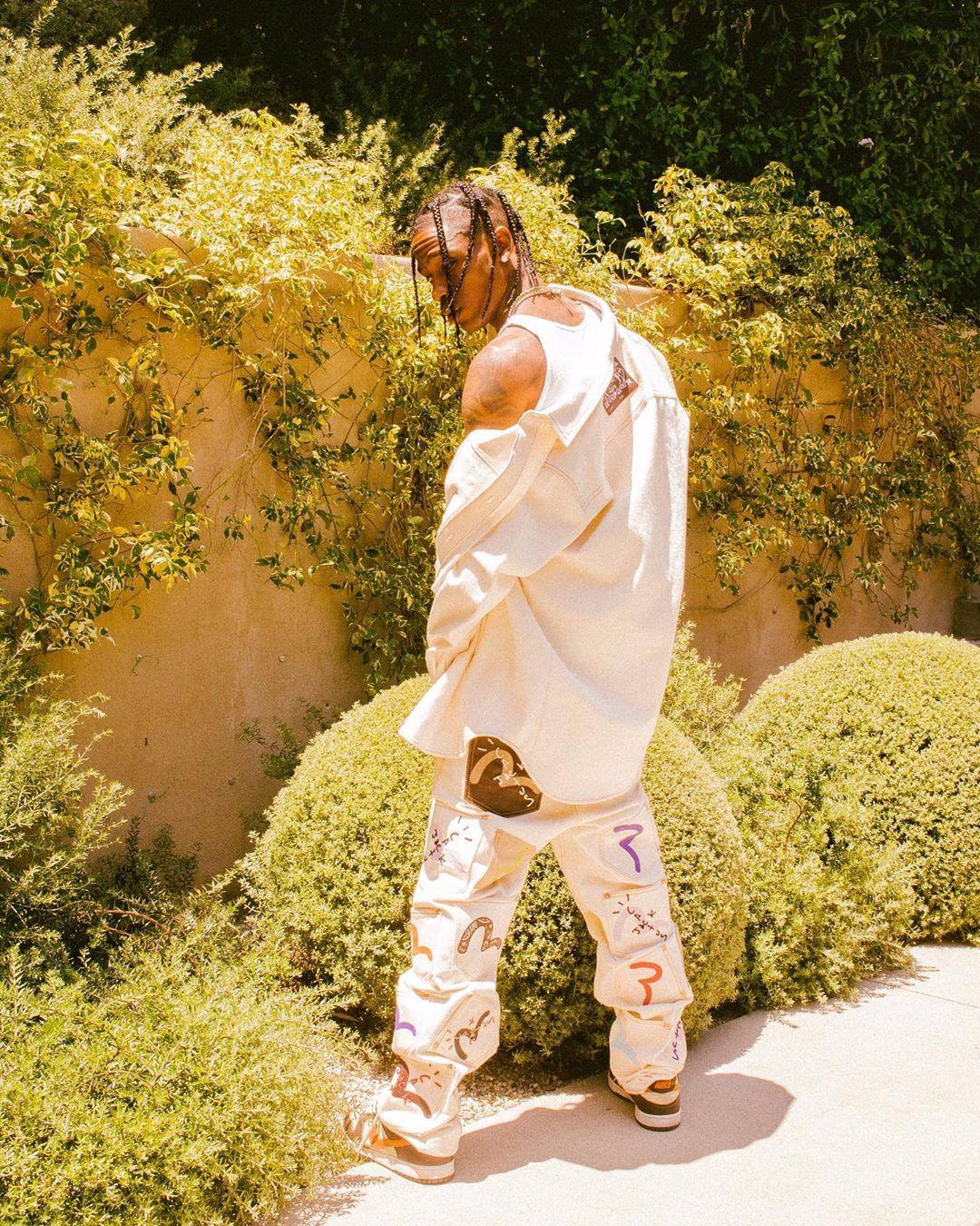 Pantaloni in Jeans Bianco Travis Scott x EVISU Cactus Jack