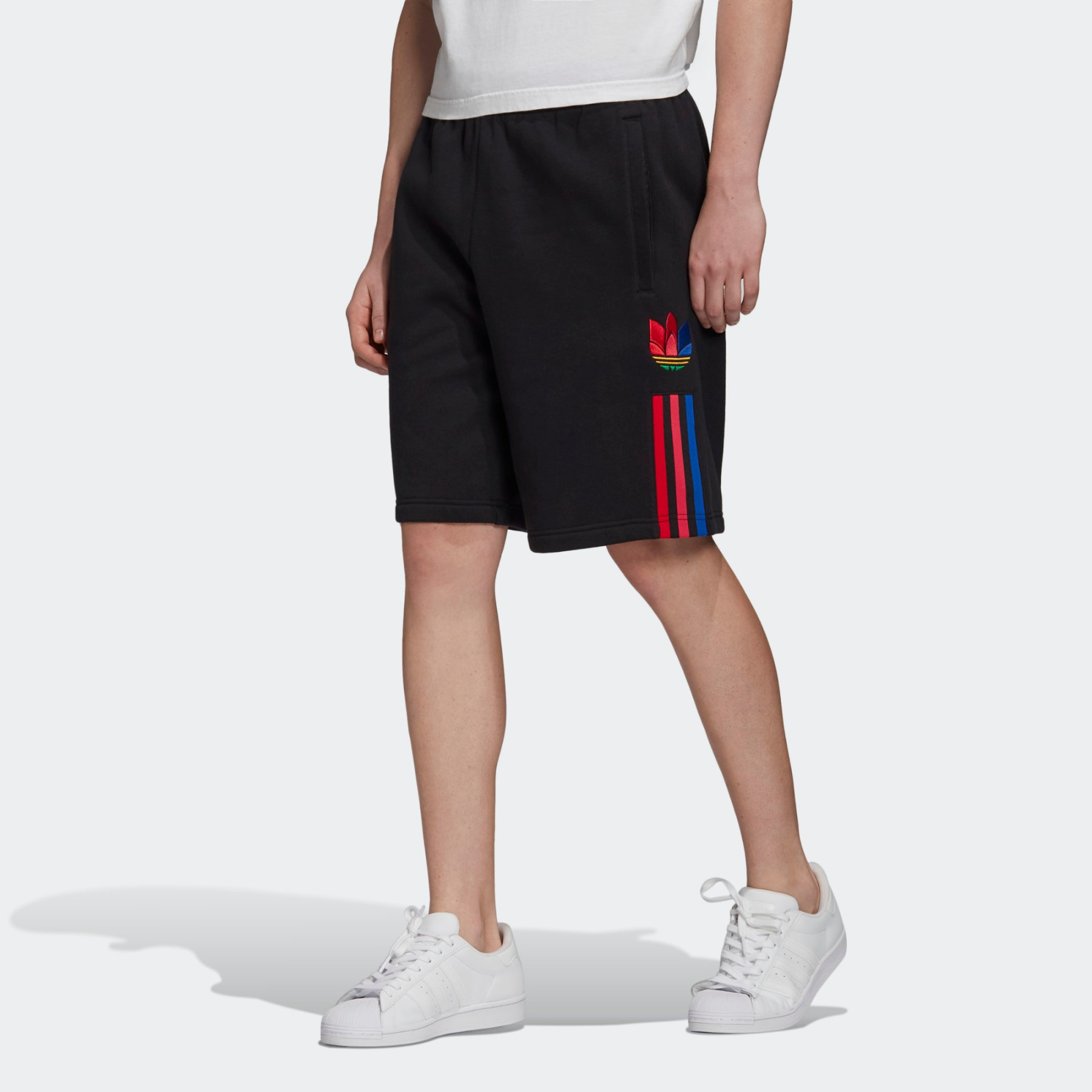 adidas Sweat Shorts 3D TREFOIL 3-STRIPES neri e rossi