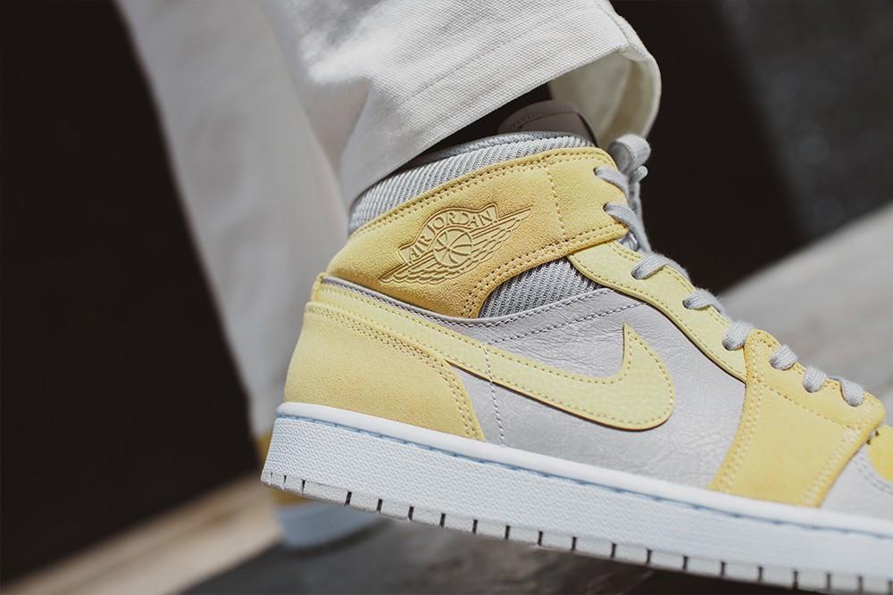 Air Jordan 1 Mid yellow colorblocks suede