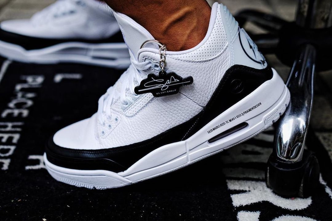 fragment design x Air Jordan 3 sneaker in pelle bianca