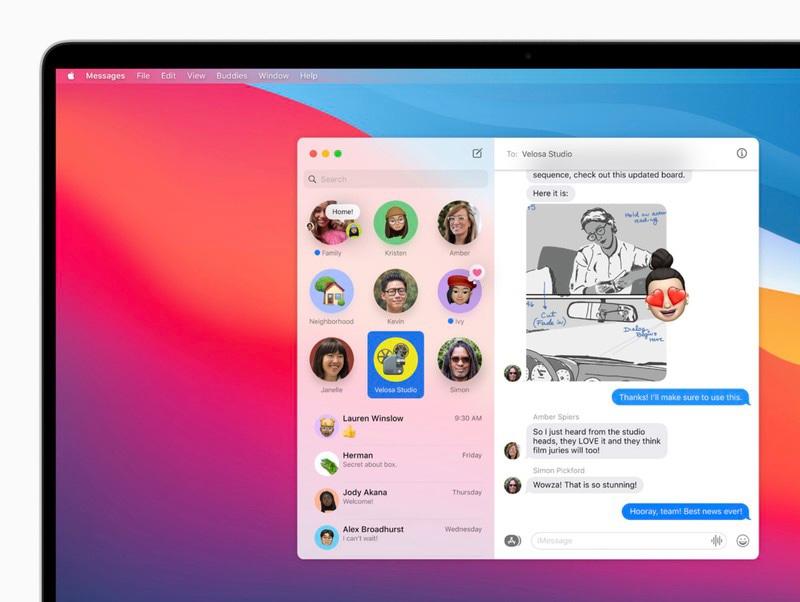macOS Big Sur app Messaggi
