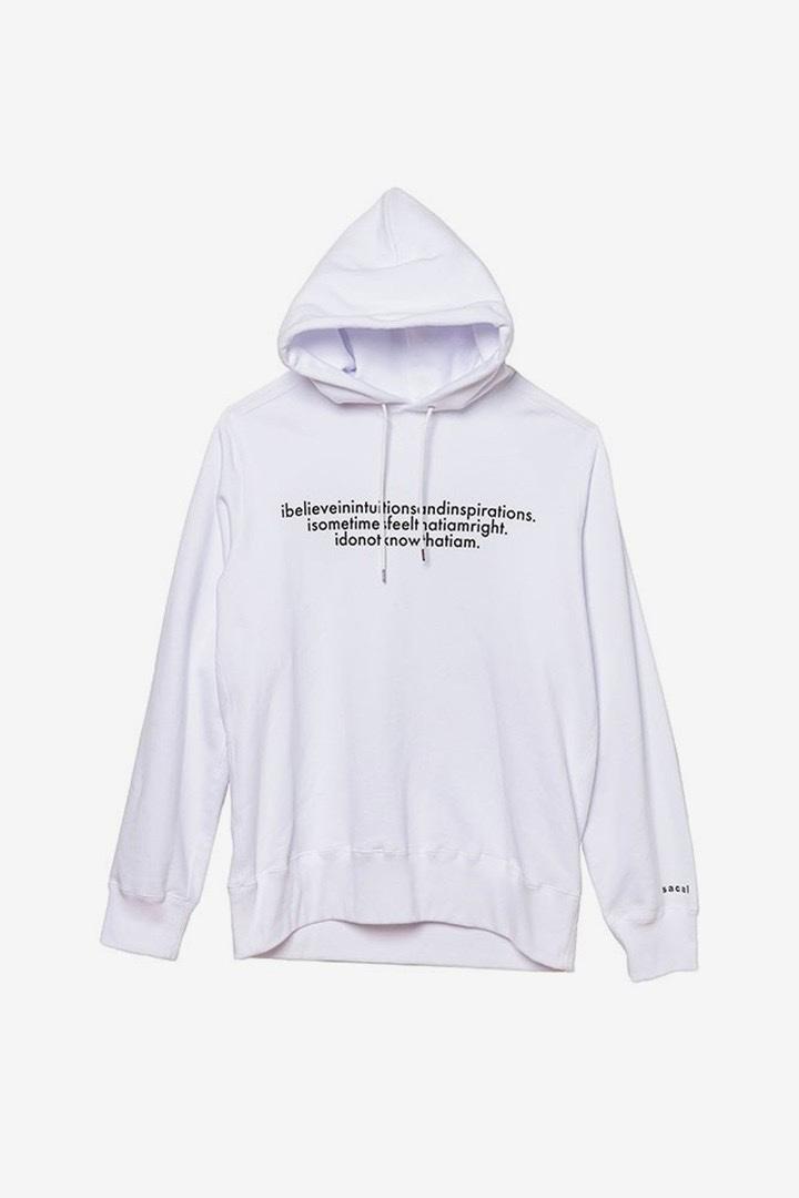 sacai Albert Einstein hoodie bianca con frase