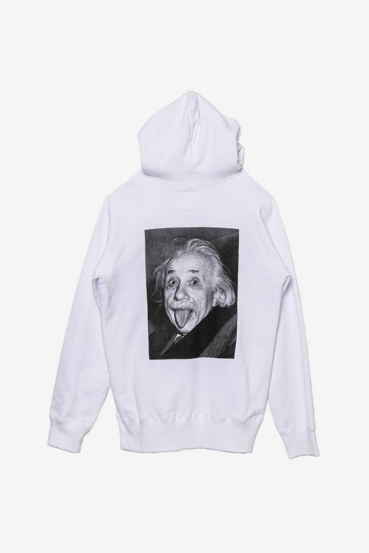 sacai Albert Einstein hoodie bianca con stampa