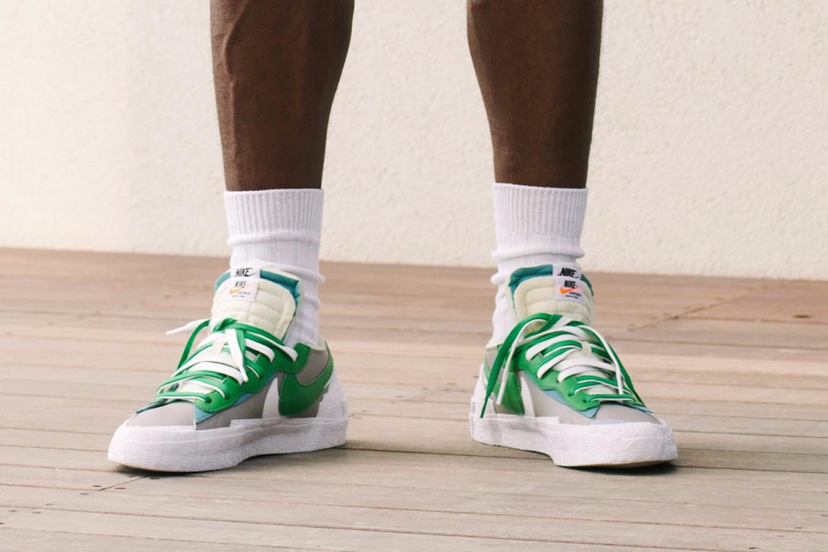 sacai x Nike Blazer Low green white