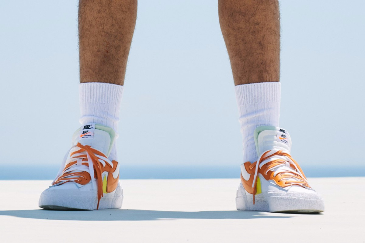 sacai x Nike Blazer Low orange white